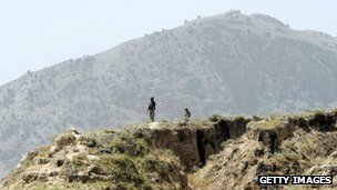 A file picture showing Pakistani tribal police guarding a remote hill top