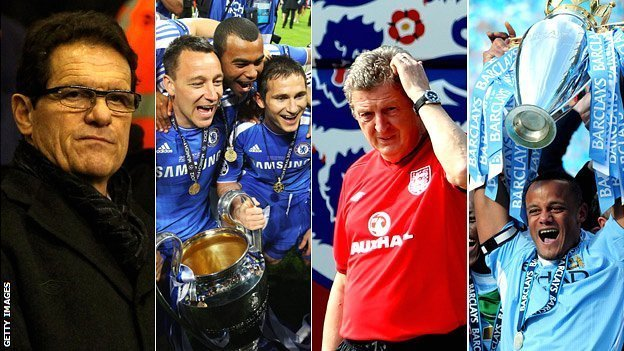 Fabio Capello, Chelsea trio John Terry, Ashley Cole and Frank Lampard with the Champions League trophy, England manager Roy Hodgson, Manchester City captain Vincent Kompany with the Premier League trophy