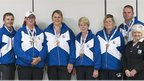 Bowls Scotland head coach David Gourlay, Michelle Cooper, Caroline Brown, Margaret Letham, Claire Johnston and Paul Foster, Bowls Scotland president Dorothy Freeburn