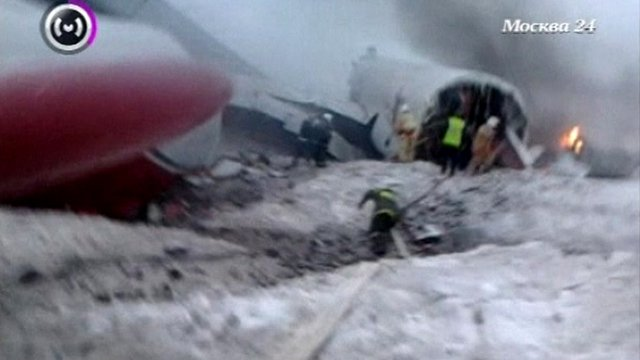 Mobile phone footage immediately after the crash