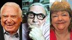 (l-r) Ernest Borgnine, Eric Sykes, Maeve Binchy