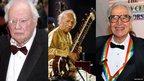 (l-r) Sir Patrick Moore, Ravi Shankar, Dave Brubeck