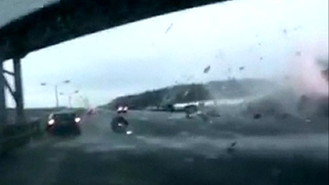 Impact of plane crash captured
