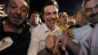 Syriza leader Alexis Tsipras (C) celebrates electoral success in Athens, 6 May