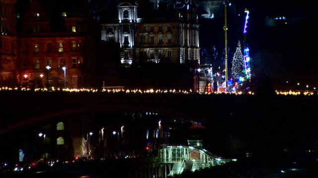 Torchlight procession through Edinburgh