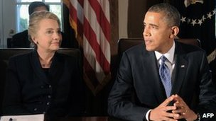 Hillary Clinton and Barack Obama (file picture)