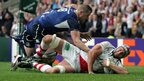 Ulster second row Dan Tuohy scores during the 2012 Heineken Cup Final