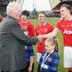 Harry Gregg meets Phil Jones of Manchester United