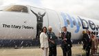 Mary Peters unveils the new Flybe aircraft 'the Mary Peters'