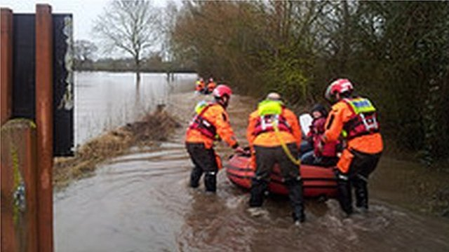 Hughes flood rescue family, Ferryman's Cottage, Glos