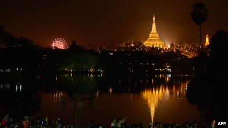 New Year's fireworks in Rangoon, Burma