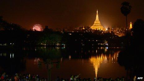 New Year's fireworks in Rangoon, Burma
