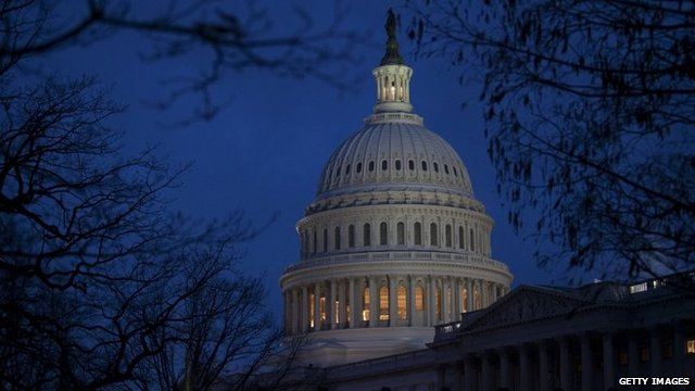 The US Capitol illuminated at dusk 31 December 2012