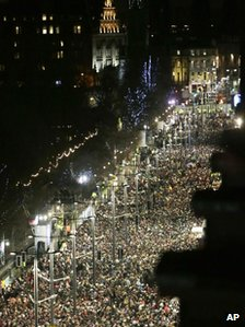 Party-goers on Princes Street in Edinburgh, Scotland crowd during a part of the New Year 2013 Edinburgh Hogmanay celebrations