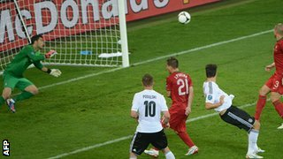 Mario Gomez scores against Portugal at Euro 2012