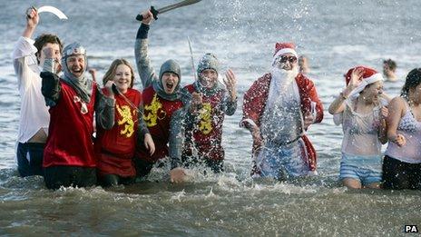 New Year dip at Whitley Bay