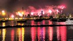 Alan Davis' photo shows Melbourne's fireworks from the viewpoint of Williamstown, Victoria. Photo: Alan Davis