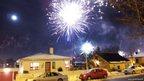 Fireworks in a street. Photo: Jónas Björgvinsson