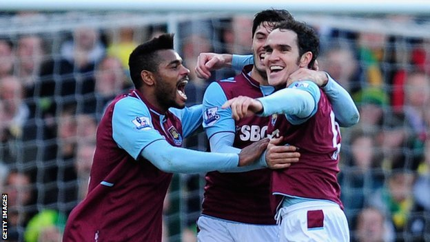 West Ham celebrate Joey O'Brien's goal against Norwich