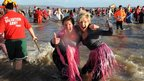 Participants in New Year Day's swim at Saundersfoot in Pembrokeshire