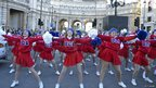 Cheerleaders performing in New Year's Day Parade