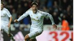 Danny Graham celebrates scoring a stoppage time equaliser for Swansea City in the 2-all draw against Aston Villa