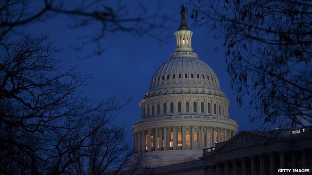 US Capitol Hill at night
