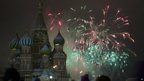 Fireworks over St Basil's Cathedral in Moscow's Red Square on 1/1/13.