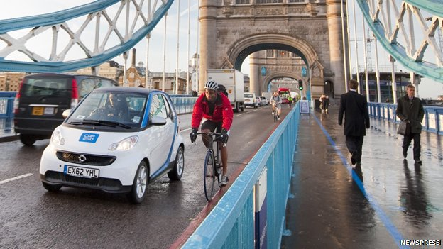 Taxi, car sharing vehicle, bicycle and pedestrians in London