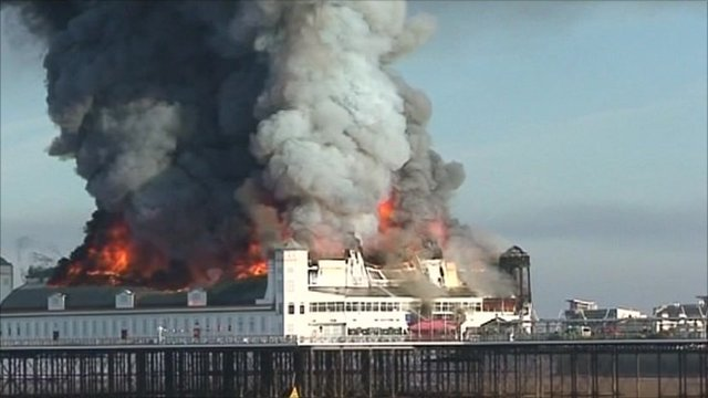 Weston-super-Mare pier on fire