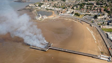 The fire-damaged pier from the air