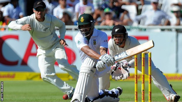 South Africa&#039;s Alviro Petersen aims a reverse sweep