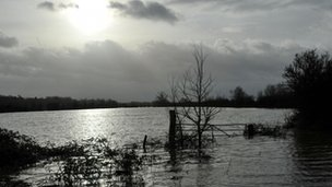 Flooded fields in Gloucestershire