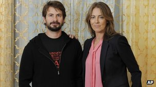 Mark Boal, left, screenwriter and co-producer of the film Zero Dark Thirty,&quot; and the film&#039;s director and co-producer Kathryn Bigelow 