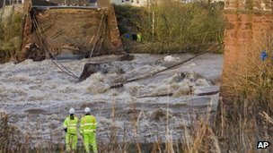 A bridge collapsed over the River Derwent