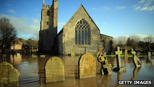 A flooded church yard in Worcester, December 2012