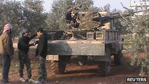 Rebel fighters near Taftanaz, file pic from 2 January 2013