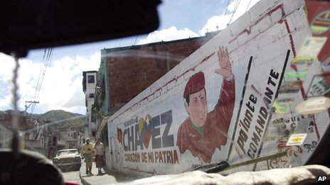 A mural of President Hugo Chavez in Caracas on 2 January 2012