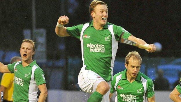 David Ames celebrates scoring for Ireland
