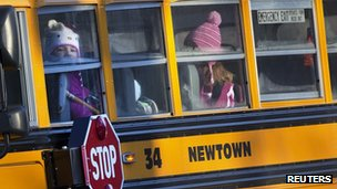 Sandy Hook children ride a school bus (3 January 2012)