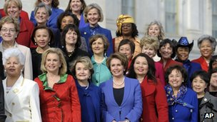 House Minority Leader Nancy Pelosi poses with other female House members on the steps of the House on Capitol Hill in Washington, 3 January 2013