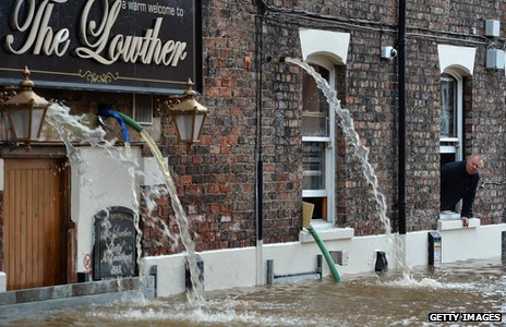 Flooded pub near the River Ouse