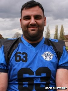 Jatinder Singh Dhesi, known as Jay Dhesi, in his Peterborough Saxons kit