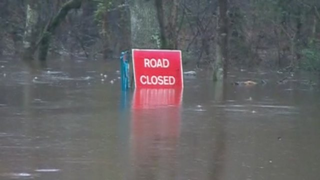 Road closed by flood waters
