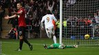 But the Swans draw level 13 minutes later when Michu scores his 13th goal of the season.