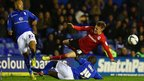 Morgaro Gomis of Birmingham tackles Craig Noone