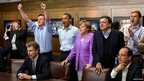 US President Barack Obama, UK Prime Minister David Cameron, German Chancellor Angela Merkel, Jose Manuel Barroso, President of the European Commission, and French President Francois Hollande watch the Champions League final at Camp David, Maryland 19 May 2012