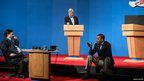 US President Barack Obama prepares for the presidential debates with Massachusetts Senator John Kerry and Ron Klain in Henderson, Nevada 2 October 2012