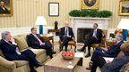 The president meets congressional leaders to discuss the fiscal cliff