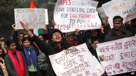 Anti-rape protest in Delhi on 3 Jan 2012